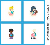 icon flat mother set of newborn ... | Shutterstock .eps vector #797376376