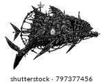 steampunk style. industrial... | Shutterstock . vector #797377456