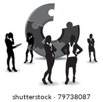 A Set Of Business Women On A...