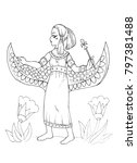 Ancient Egyptian Princess Coloring Page Stock Illustration Royalty