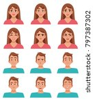 face expressions male and... | Shutterstock . vector #797387302