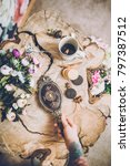flowers on wood background with ... | Shutterstock . vector #797387512