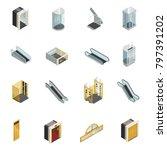 elevator lift escalator... | Shutterstock . vector #797391202