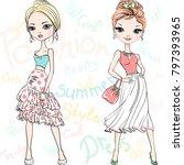 two beautiful fashion girls top ... | Shutterstock .eps vector #797393965