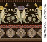 vintage vector floral border.... | Shutterstock .eps vector #797404396