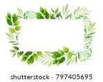 green leaves frame template. ... | Shutterstock .eps vector #797405695