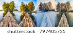 four seasons. a picturesque hut ... | Shutterstock . vector #797405725
