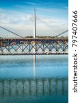 Small photo of Bridge at Ada in Belgrade and reflection in the water