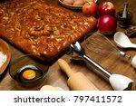 apple pie with baking... | Shutterstock . vector #797411572