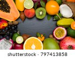 exotic tropical fruits on black ... | Shutterstock . vector #797413858
