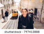 female traveler woman... | Shutterstock . vector #797413888