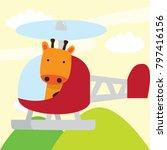 cute giraffe in a car and... | Shutterstock .eps vector #797416156