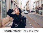 young cheerful woman walking... | Shutterstock . vector #797419792