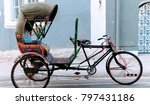Small photo of Rickshaw in the streets of Pondicherry (Puducherry), India