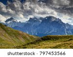 clouds over carnic alps grassy... | Shutterstock . vector #797453566