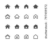 home flat icons vector on white