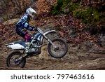 motocross rider in action  get... | Shutterstock . vector #797463616