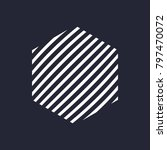 hexagon mark with white lines... | Shutterstock .eps vector #797470072