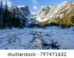 winter at frozen emerald lake   ... | Shutterstock . vector #797471632