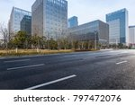 empty road with modern business ... | Shutterstock . vector #797472076