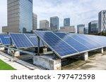 solar and modern city skyline... | Shutterstock . vector #797472598