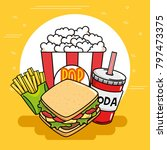 fast food stickers pop art | Shutterstock .eps vector #797473375