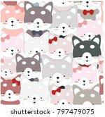 cute seamless pattern cartoon...   Shutterstock .eps vector #797479075