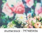 flowers on wooden background  | Shutterstock . vector #797485456