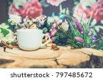 flowers on wooden background... | Shutterstock . vector #797485672