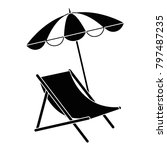 beach chair with umbrella | Shutterstock .eps vector #797487235