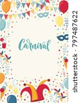 vertical template with confetti ... | Shutterstock .eps vector #797487622
