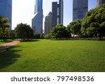 empty green grass with modern... | Shutterstock . vector #797498536