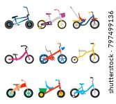 kids bicycles set. two  four... | Shutterstock .eps vector #797499136
