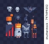 halloween party characters... | Shutterstock .eps vector #797499352