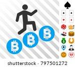 person climb bitcoins icon with ...