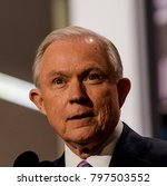 Small photo of Cleveland Ohio, USA, 18th July, 2016 Republican Senator from Alabama Jeff Sessions addresses the National Nominating Convention from the podium in the Quicken Loans Sports Arena
