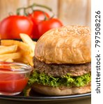 Small photo of Beef Burger Dinner Representing Ready To Eat And Ready To Eat