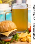 Small photo of Burger With Beer Meaning Ready To Eat And Ready To Eat