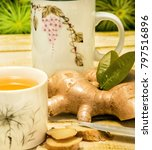 Small photo of Outdoor Ginger Tea Meaning Refresh Refreshments And Herbal