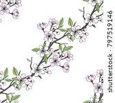 seamless pattern  with sakura.... | Shutterstock .eps vector #797519146