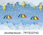 origami made rainy weather... | Shutterstock .eps vector #797523742