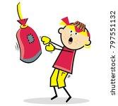 pugilist  boy and boxing bag ...   Shutterstock .eps vector #797551132