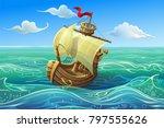 vector ship. boat schooner... | Shutterstock .eps vector #797555626