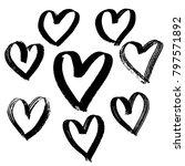 grunge hearts set. valentine... | Shutterstock .eps vector #797571892