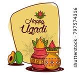 happy ugadi design   Shutterstock .eps vector #797574316