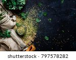 dried ground oregano or... | Shutterstock . vector #797578282