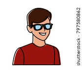 young man with sunglasses...   Shutterstock .eps vector #797580862