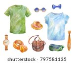 watercolor set of clothes. hand ... | Shutterstock . vector #797581135