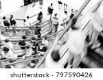 motion escalators at the modern ... | Shutterstock . vector #797590426