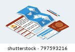 approved visa form  passports ... | Shutterstock .eps vector #797593216
